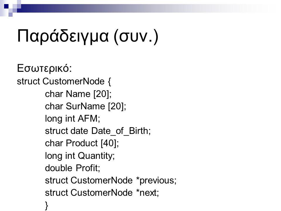 Παράδειγμα (συν.) Εσωτερικό: struct CustomerNode { char Name [20];